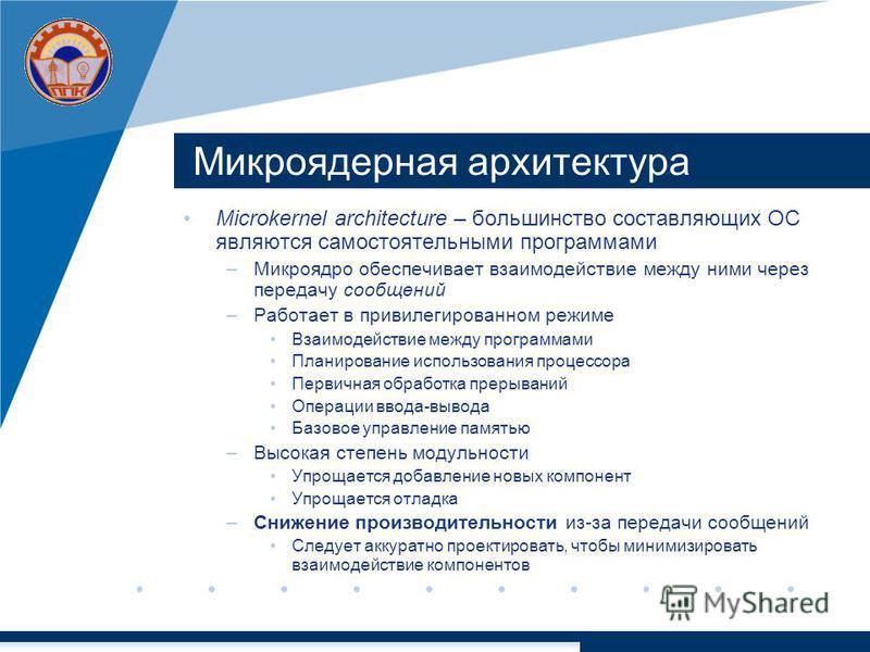 Микроядерная архитектура Microkernel architecture – большинство составляющих ОС являются самостоятельными программами –Микроядро обеспечивает взаимодействие между ними через передачу сообщений –Работает в привилегированном режиме Взаимодействие между
