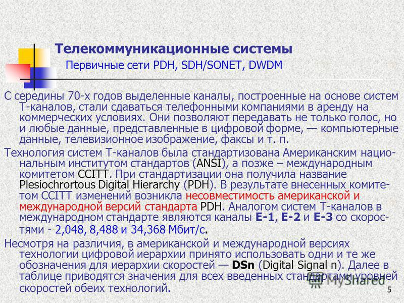 5 Телекоммуникационные системы Первичные сети PDH, SDH/SONET, DWDM С середины 70-х годов выделенные каналы, построенные на основе систем Т-каналов, стали сдаваться телефонными компаниями в аренду на коммерческих условиях. Они позволяют передавать не