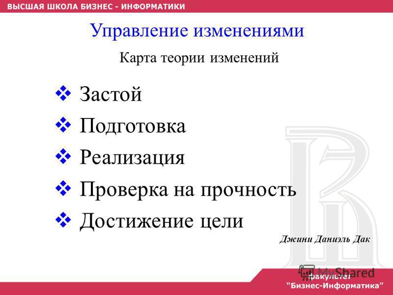 Застой Подготовка Реализация Проверка на прочность Достижение цели Джини Даниэль Дак Управление изменениями Карта теории изменений
