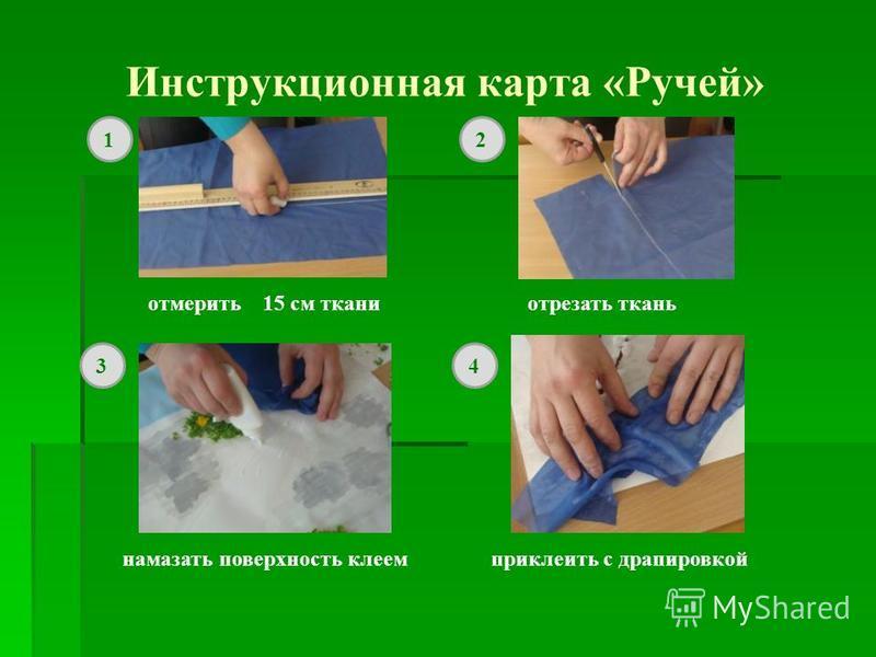 Инструкционная карта «Ручей» отмерить 15 см ткани отрезать ткань намазать поверхность клеем приклеить с драпировкой 12 34