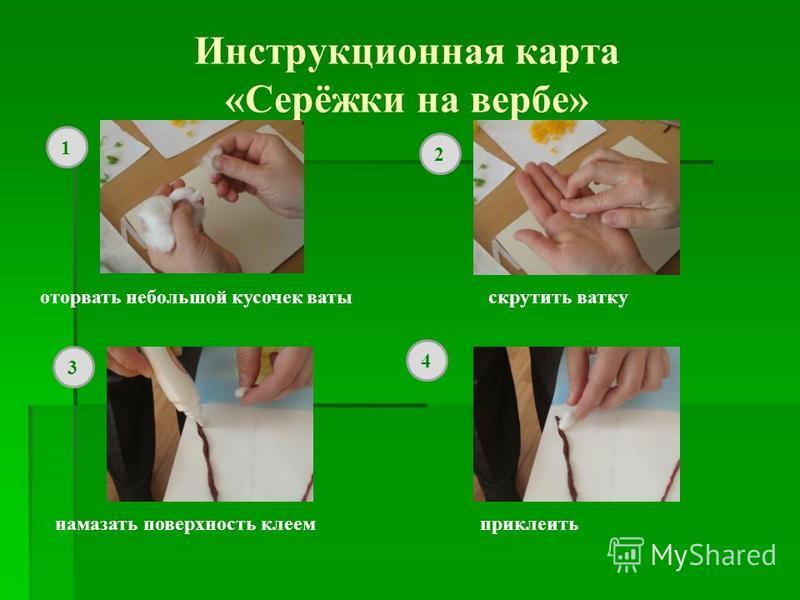 Инструкционная карта «Серёжки на вербе» оторвать небольшой кусочек ваты скрутить ватку намазать поверхность клеем приклеить 1 2 3 4