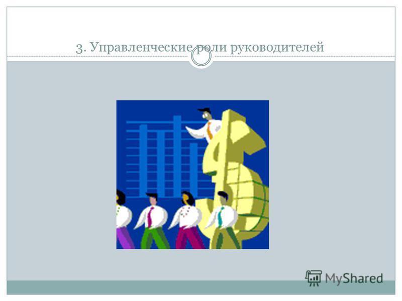 3. Управленческие роли руководителей