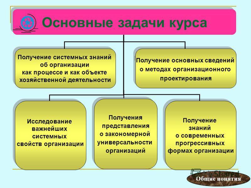 Основные задачи курса Получение системных знаний об организации как процессе и как объекте хозяйственной деятельности Получение системных знаний об организации как процессе и как объекте хозяйственной деятельности Исследование важнейших системных сво