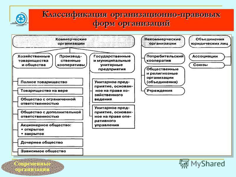 Классификация организационно-правовых форм организаций Современные организации