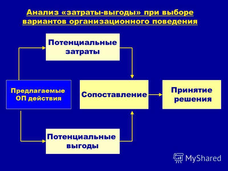 Анализ «затраты-выгоды» при выборе вариантов организационного поведения Потенциальные выгоды Предлагаемые ОП действия Сопоставление Принятие решения Потенциальные затраты
