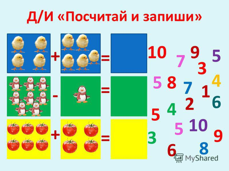 Д/И «Посчитай и запиши» 7 8 9 10 5 5 4 3 6 5 4 3 5 7 8 6 + = 9 2 1 - = = +