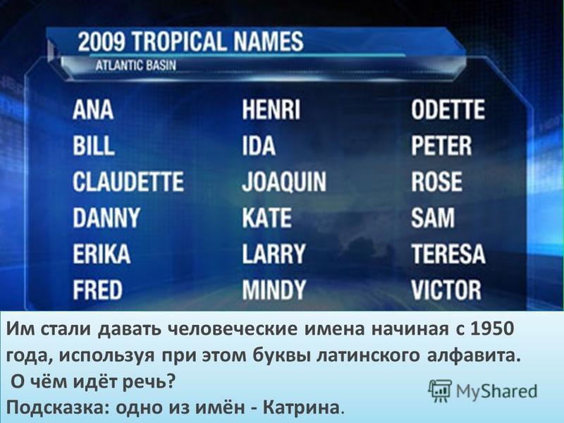 Им стали давать человеческие имена начиная с 1950 года, используя при этом буквы латинского алфавита. О чём идёт речь? Подсказка: одно из имён - Катрина. Им стали давать человеческие имена начиная с 1950 года, используя при этом буквы латинского алфа