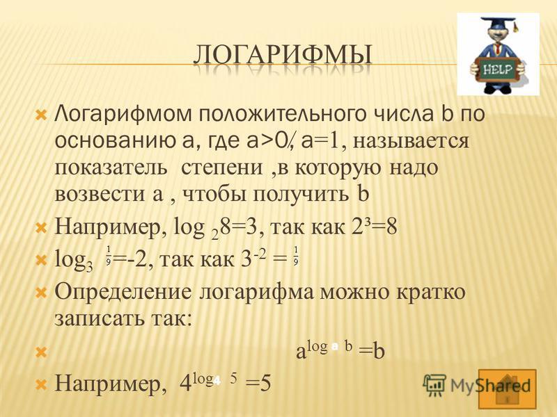 Логарифмом положительного числа b по основанию a, где a>0, a =1, называется показатель степени,в которую надо возвести a, чтобы получить b Например, log 2 8=3, так как 2³=8 log 3 =-2, так как 3 -2 = Определение логарифма можно кратко записать так: a