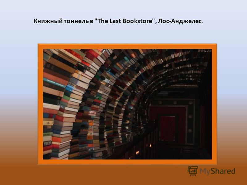 Книжный тоннель в The Last Bookstore, Лос-Анджелес.