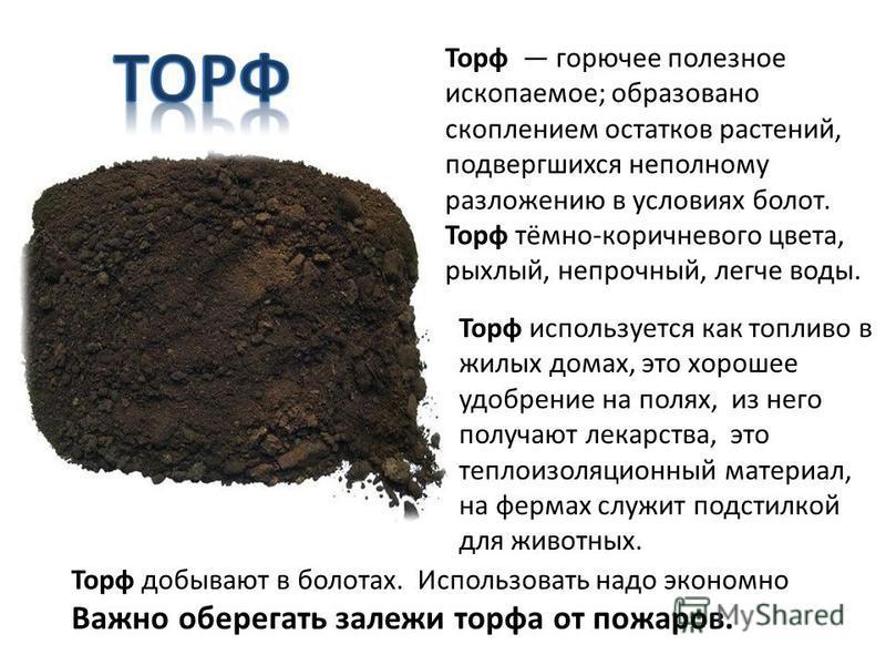 Торф горючее полезное ископаемое; образовано скоплением остатков растений, подвергшихся неполному разложению в условиях болот. Торф тёмно-коричневого цвета, рыхлый, непрочный, легче воды. Торф используется как топливо в жилых домах, это хорошее удобр
