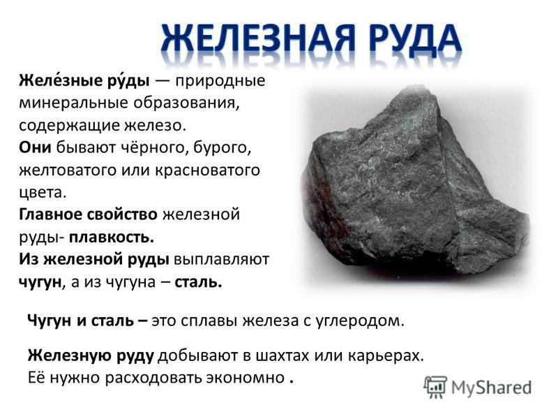 Желе́зные ру́ды природные минеральные образования, содержащие железо. Они бывают чёрного, бурого, желтоватого или красноватого цвета. Главное свойство железной руды- плавкость. Из железной руды выплавляют чугун, а из чугуна – сталь. Железную руду доб