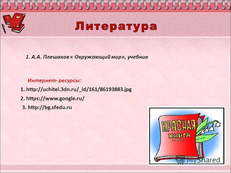 1. http://uchitel.3dn.ru/_ld/161/86193883. jpg 2. https://www.google.ru/ 3. http://bg.sfedu.ru Интернет- ресурсы: 1. А.А. Плешаков « Окружающий мир», учебник