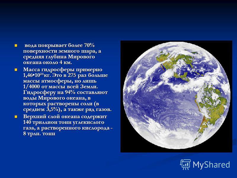 вода покрывает более 70% поверхности земного шара, а средняя глубина Мирового океана около 4 км. вода покрывает более 70% поверхности земного шара, а средняя глубина Мирового океана около 4 км. Масса гидросферы примерно 1,4610²¹кг. Это в 275 раз боль