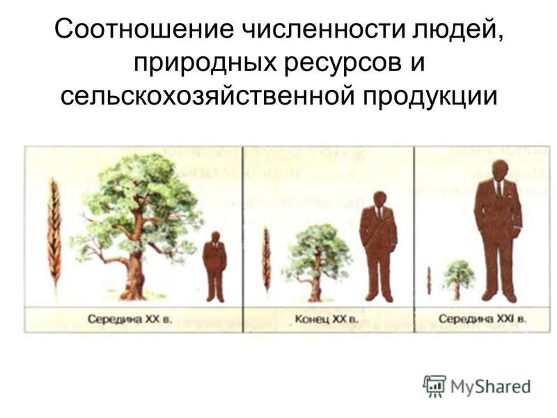 Соотношение численности людей, природных ресурсов и сельскохозяйственной продукции