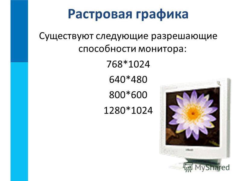 Существуют следующие разрешающие способности монитора: 768*1024 640*480 800*600 1280*1024 Растровая графика