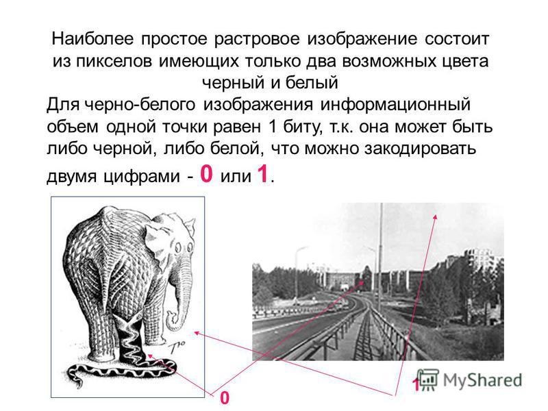 Наиболее простое растровое изображение состоит из пикселов имеющих только два возможных цвета черный и белый Для черно-белого изображения информационный объем одной точки равен 1 биту, т.к. она может быть либо черной, либо белой, что можно закодирова