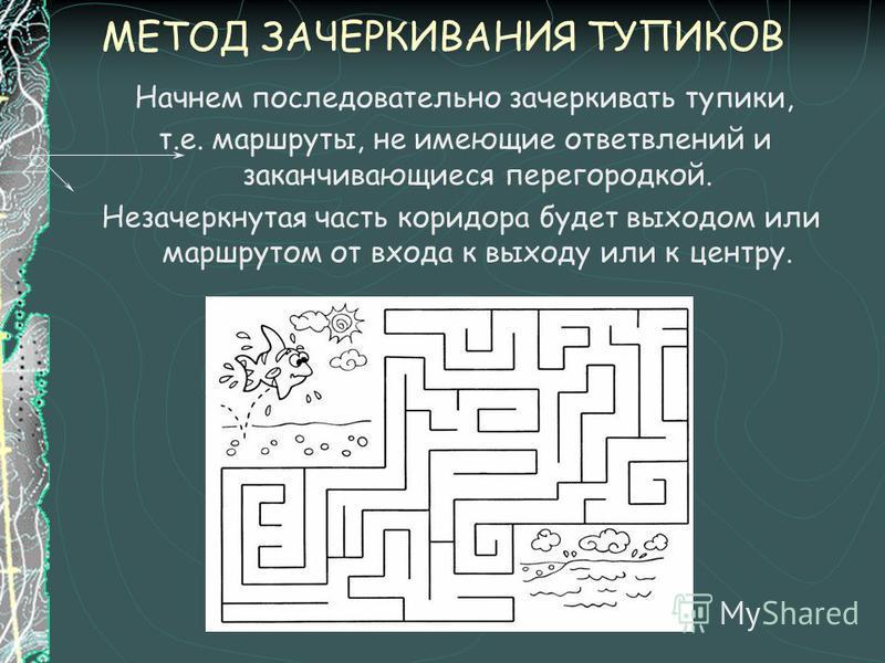 МЕТОД ЗАЧЕРКИВАНИЯ ТУПИКОВ Начнем последовательно зачеркивать тупики, т.е. маршруты, не имеющие ответвлений и заканчивающиеся перегородкой. Незачеркнутая часть коридора будет выходом или маршрутом от входа к выходу или к центру.