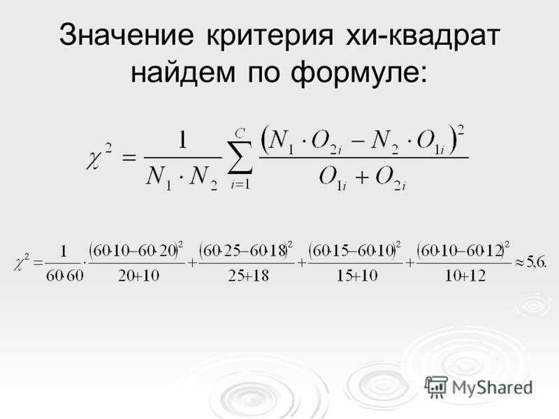 Значение критерия хи-квадрат найдем по формуле: