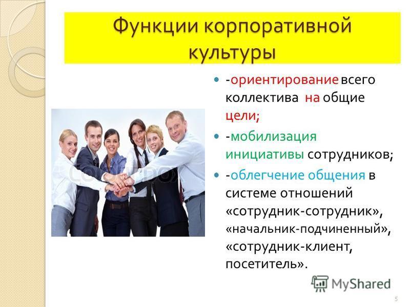 Функции корпоративной культуры - ориентирование всего коллектива на общие цели ; - мобилизация инициативы сотрудников ; - облегчение общения в системе отношений « сотрудник - сотрудник », « начальник - подчиненный », « сотрудник - клиент, посетитель