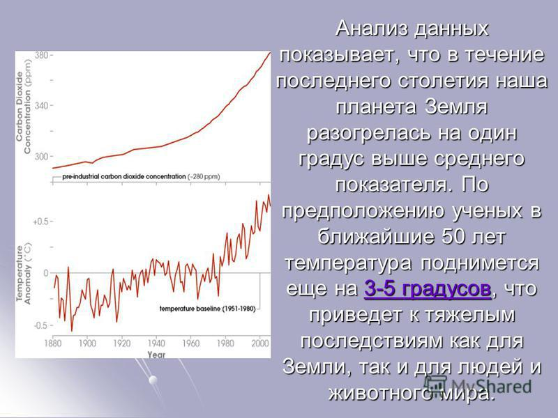 Анализ данных показывает, что в течение последнего столетия наша планета Земля разогрелась на один градус выше среднего показателя. По предположению ученых в ближайшие 50 лет температура поднимется еще на 3-5 градусов, что приведет к тяжелым последст