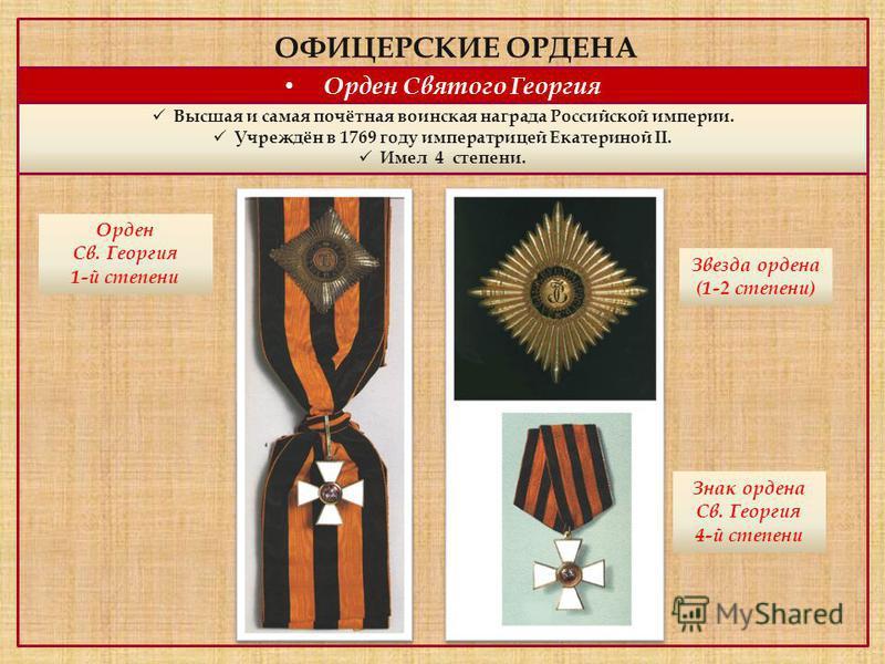 ОФИЦЕРСКИЕ ОРДЕНА Орден Святого Георгия Высшая и самая почётная воинская награда Российской империи. Учреждён в 1769 году императрицей Екатериной II. Имел 4 степени. Орден Св. Георгия 1-й степени Звезда ордена (1-2 степени) Знак ордена Св. Георгия 4-