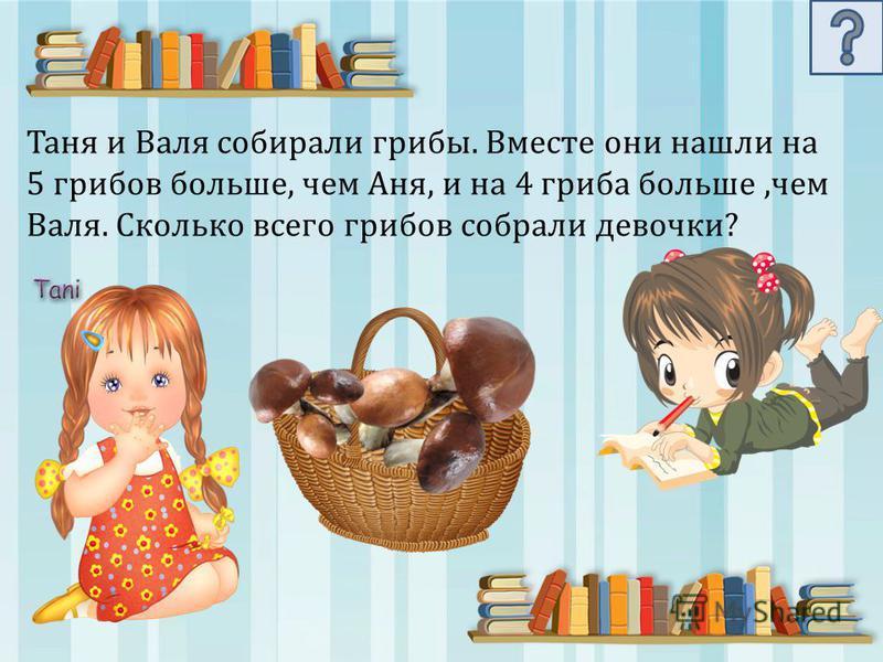 Таня и Валя собирали грибы. Вместе они нашли на 5 грибов больше, чем Аня, и на 4 гриба больше,чем Валя. Сколько всего грибов собрали девочки?