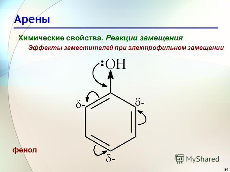 24 Арены Химические свойства. Реакции замещения Эффекты заместителей при электрофильном замещении фенол