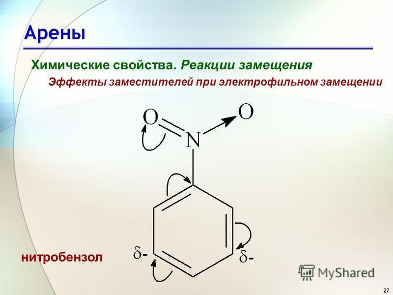 27 Арены Химические свойства. Реакции замещения Эффекты заместителей при электрофильном замещении нитробензол