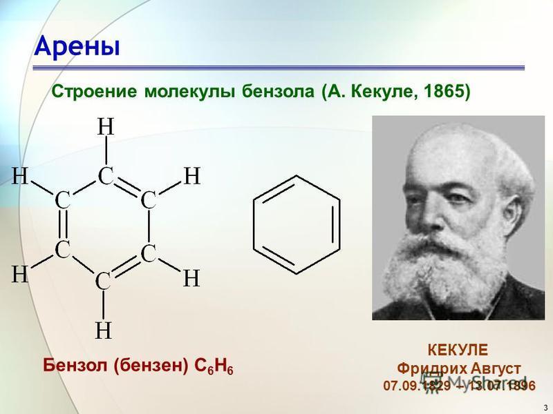 3 Арены Строение молекулы бензола (А. Кекуле, 1865) Бензол (бензин) С 6 Н 6 КЕКУЛЕ Фридрих Август 07.09.1829 – 13.07.1896