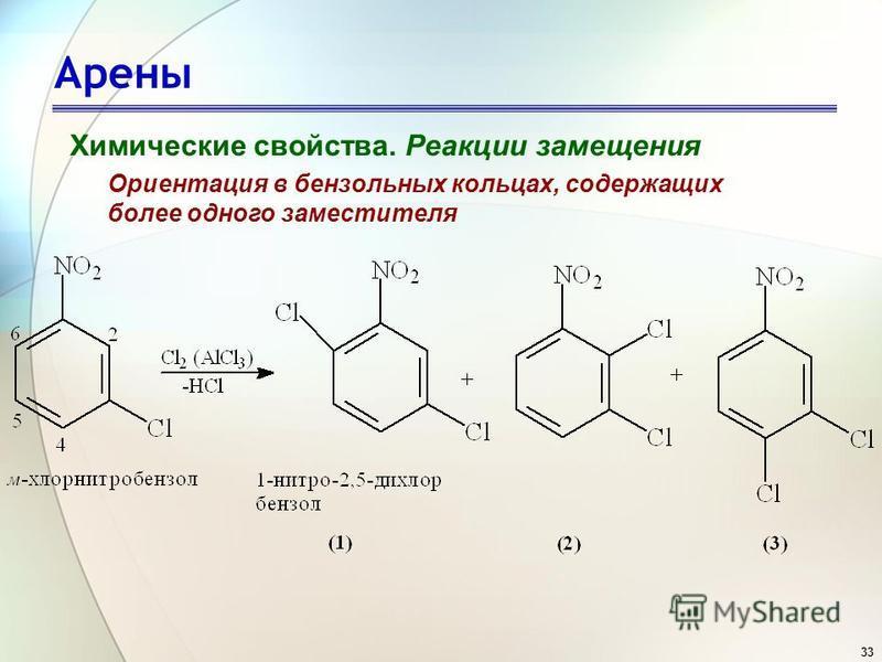 33 Арены Химические свойства. Реакции замещения Ориентация в бензольных кольцах, содержащих более одного заместителя
