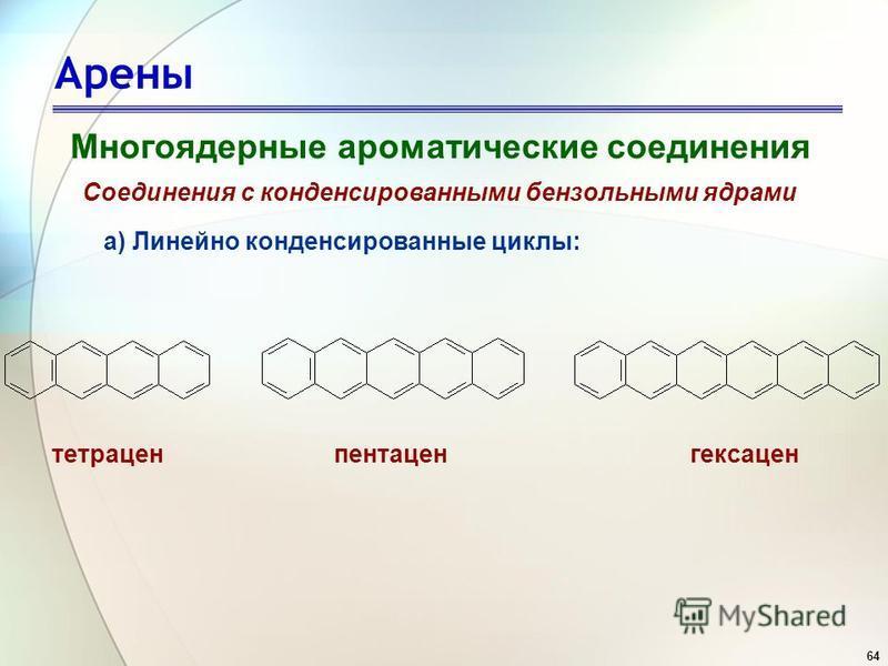 64 Арены Многоядерные ароматические соединения Соединения с конденсированными бензольными ядрами а) Линейно конденсированные циклы: тетраценпентацен гексаген