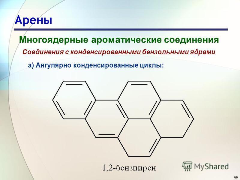 66 Арены Многоядерные ароматические соединения Соединения с конденсированными бензольными ядрами а) Ангулярно конденсированные циклы: