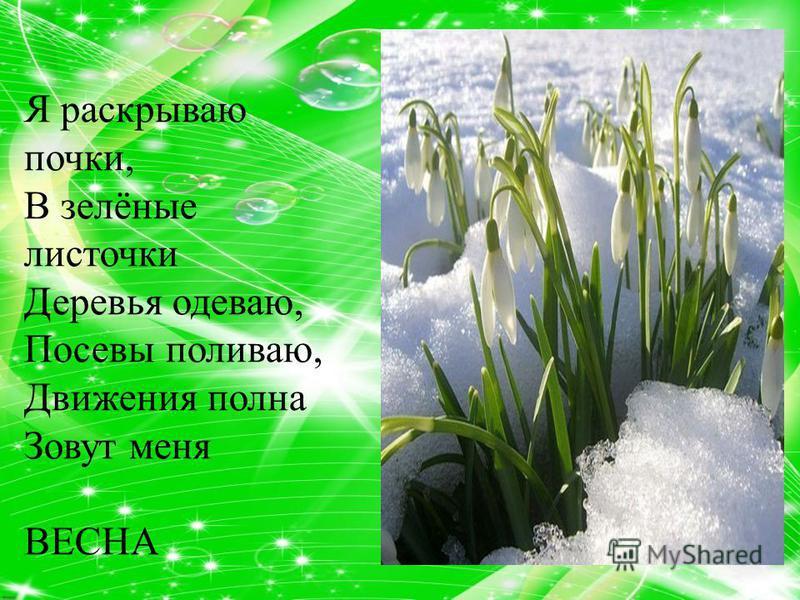 Я раскрываю почки, В зелёные листочки Деревья одеваю, Посевы поливаю, Движения полна Зовут меня ВЕСНА