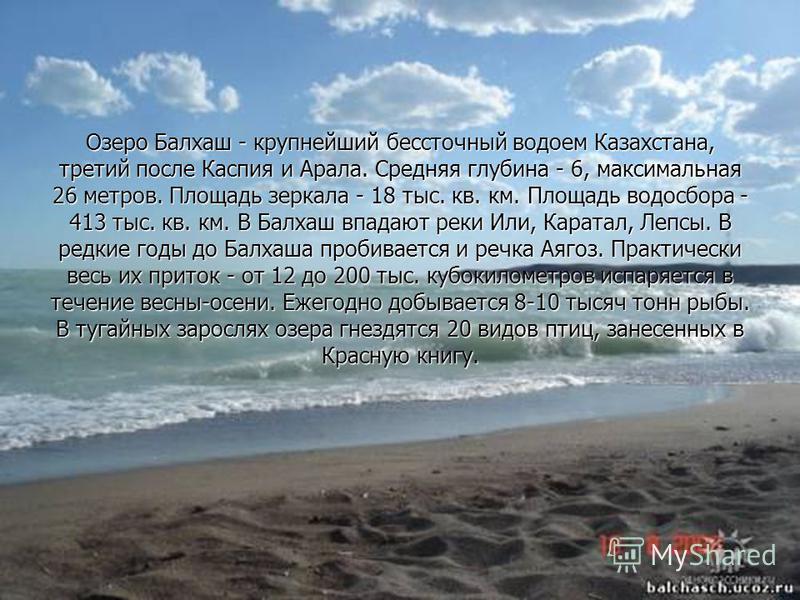 Озеро Балхаш - крупнейший бессточный водоем Казахстана, третий после Каспия и Арала. Средняя глубина - 6, максимальная 26 метров. Площадь зеркала - 18 тыс. кв. км. Площадь водосбора - 413 тыс. кв. км. В Балхаш впадают реки Или, Каратал, Лепсы. В редк