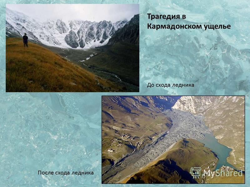 Трагедия в Кармадонском ущелье До схода ледника После схода ледника