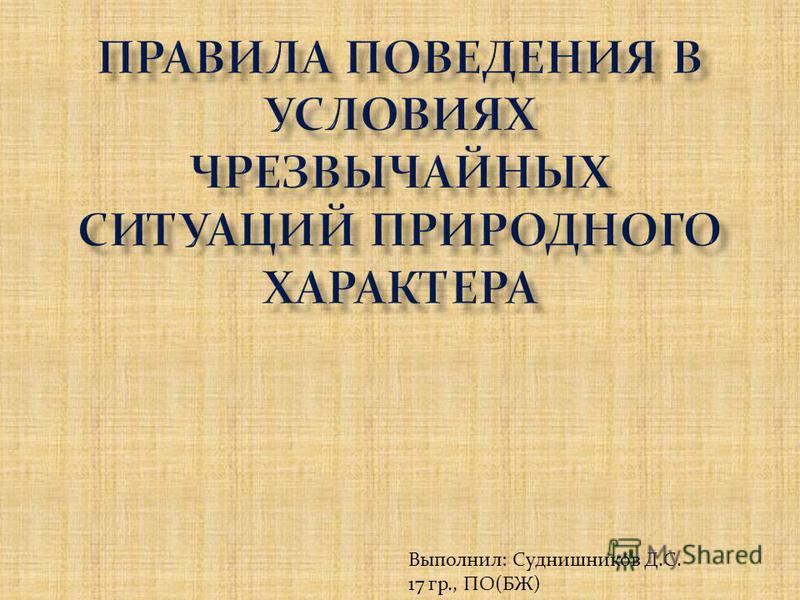 Выполнил: Суднишников Д.С. 17 гр., ПО(БЖ)