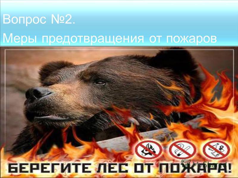 Вопрос 2. Меры предотвращения от пожаров