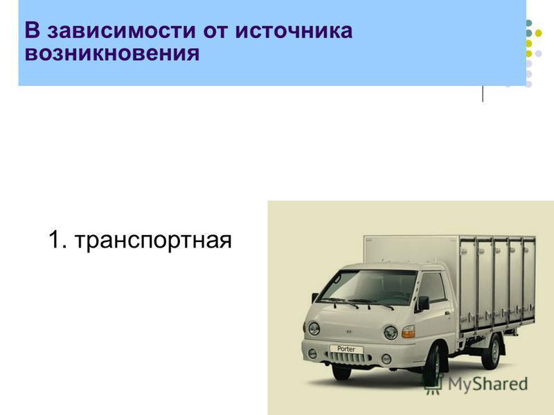 В зависимости от источника возникновения 1. транспортная