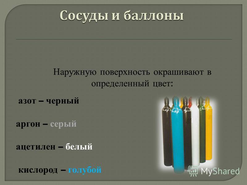 Наружную поверхность окрашивают в определенный цвет : азот – черный аргон – серый ацетилен – белый кислород – голубой