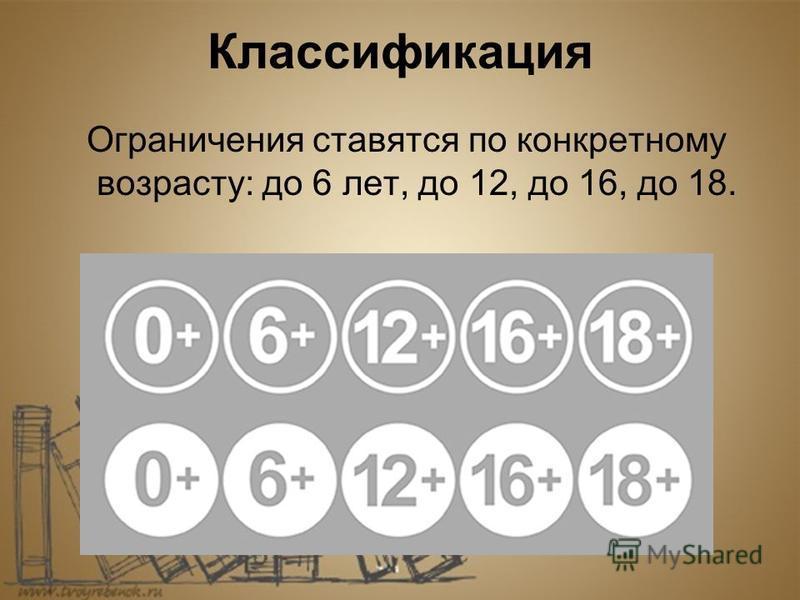 Классификация Ограничения ставятся по конкретному возрасту: до 6 лет, до 12, до 16, до 18.