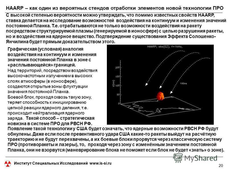 Институт Специальных Исследований www.is-si.ru HAARP – как один из вероятных стендов отработки элементов новой технологии ПРО С высокой степенью вероятности можно утверждать, что помимо известных свойств HAARP, ставка делается на исследование возможн