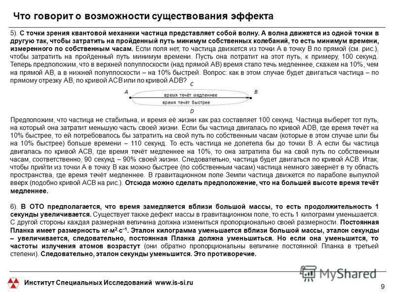 Институт Специальных Исследований www.is-si.ru Что говорит о возможности существования эффекта 5). С точки зрения квантовой механики частица представляет собой волну. А волна движется из одной точки в другую так, чтобы затратить на пройденный путь ми