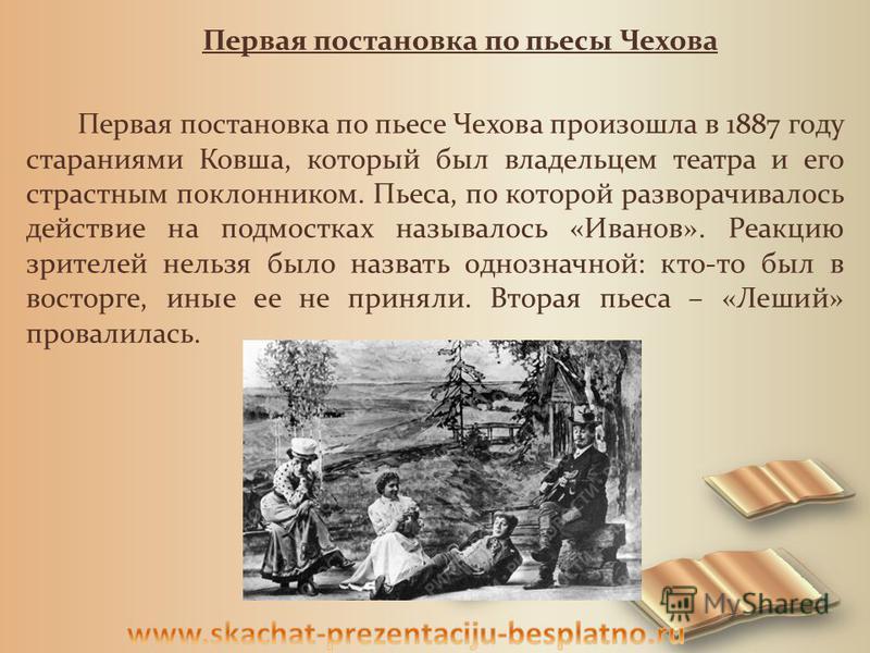 Первая постановка по пьесы Чехова Первая постановка по пьесе Чехова произошла в 1887 году стараниями Ковша, который был владельцем театра и его страстным поклонником. Пьеса, по которой разворачивалось действие на подмостках называлось «Иванов». Реакц