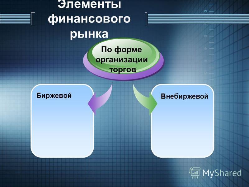 Элементы финансового рынка Биржевой По форме организации торгов Внебиржевой