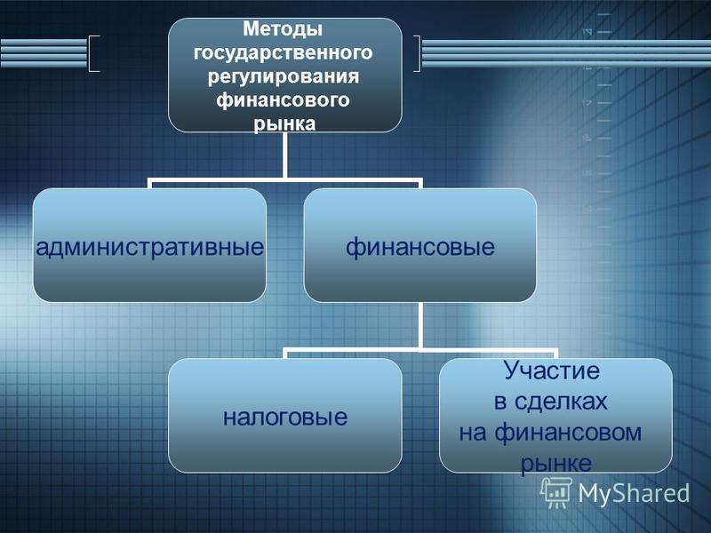 Методы государственного регулирования финансового рынка административные финансовые налоговые Участие в сделках на финансовом рынке
