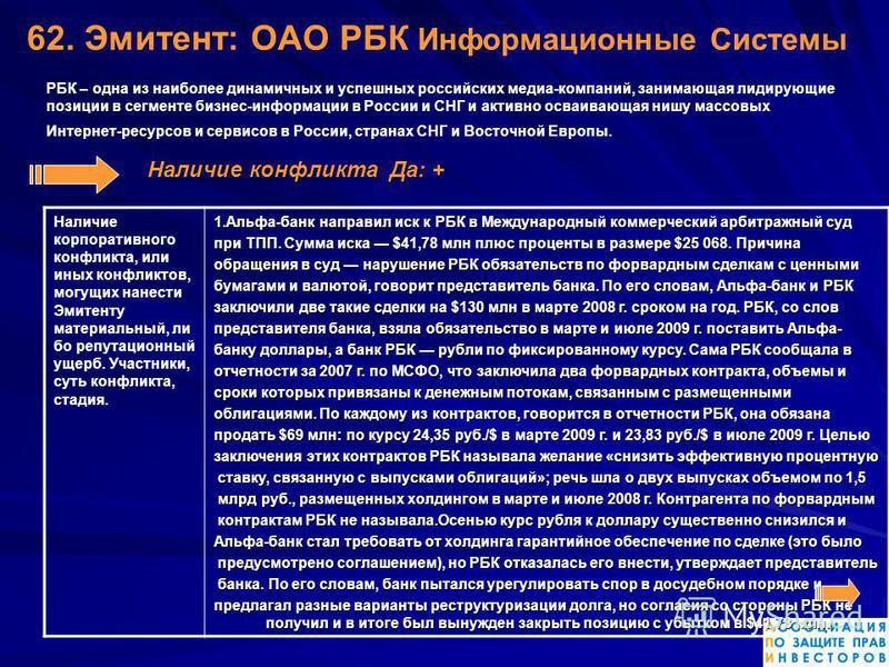 62. Эмитент: ОАО РБК Информационныне Системы РБК – одна из наиболее динамичных и успешных российских медиа-компаний, занимающая лидирующие позиции в сегменте бизнес-информации в России и СНГ и активно осваивающая нишу массовых Интернет-ресурсов и сер