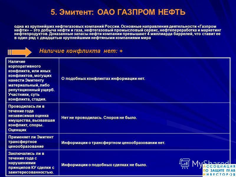 5. Эмитент: ОАО ГАЗПРОМ НЕФТЬ одна из крупнейших нефтегазовых компаний России. Основныне направления деятельности «Газпром нефти» -- это добыча нефти и газа, нефтегазовый промысловый сервис, нефтепереработка и маркетинг нефтепродуктов. Доказанныне за