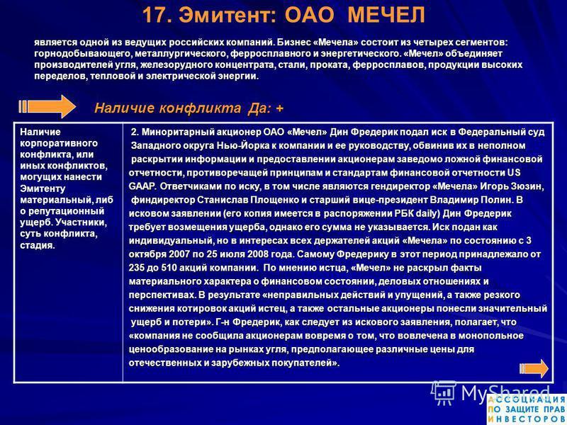 17. Эмитент: ОАО МЕЧЕЛ является одной из ведущих российских компаний. Бизнес «Мечела» состоит из четырех сегментов: горнодобывающего, металлургического, ферросплавного и энергетического. «Мечел» объединяет производителей угля, железорудного концентра