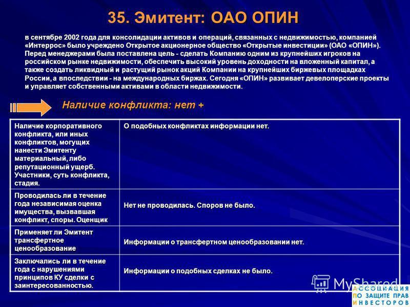 ОАО ОПИН 35. Эмитент: ОАО ОПИН в сентябре 2002 года для консолидации активов и операций, связанных с недвижимостью, компанией «Интеррос» было учреждено Открытое акционерное общество «Открытые инвестиции» (ОАО «ОПИН»). Перед менеджерами была поставлен