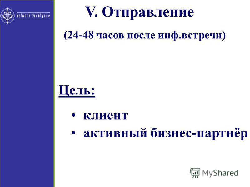 V. Отправление (24-48 часов после инф.встречи) Цель: клиент активный бизонес-партнёр